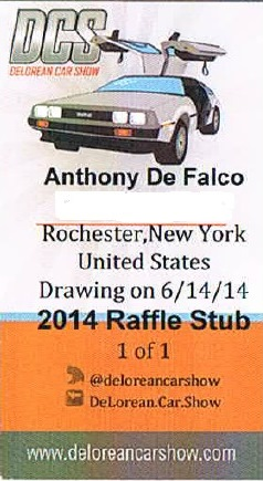 DELOREAN RAFFLE TICKET